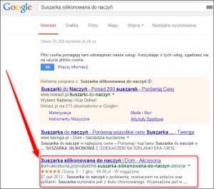 Opinie z gwiadkami w wynikach wyszukiwania Google
